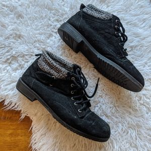 Genuine suede leather lace up booties